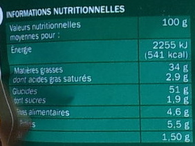Chips saveur Moutarde Pickles - Informations nutritionnelles - fr