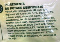 Soupe déshydratée poule au pot aux petits légumes - sachet - Ingredients - fr