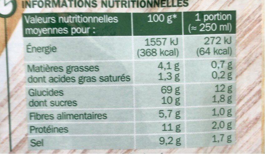 Soupe déshydratée poule au pot aux petits légumes - sachet - Nutrition facts - fr