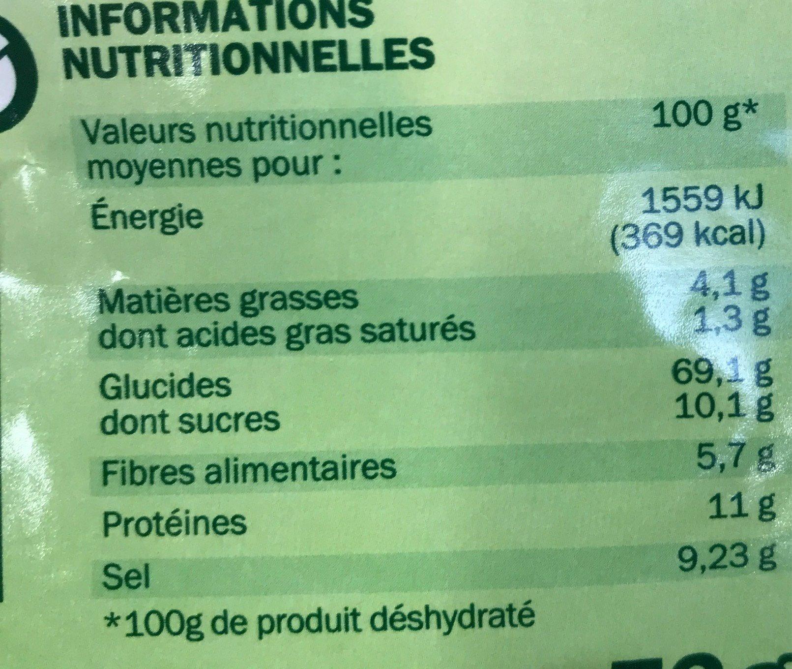 Soupe déshydratée poule au pot aux petits légumes - sachet - Informations nutritionnelles - fr