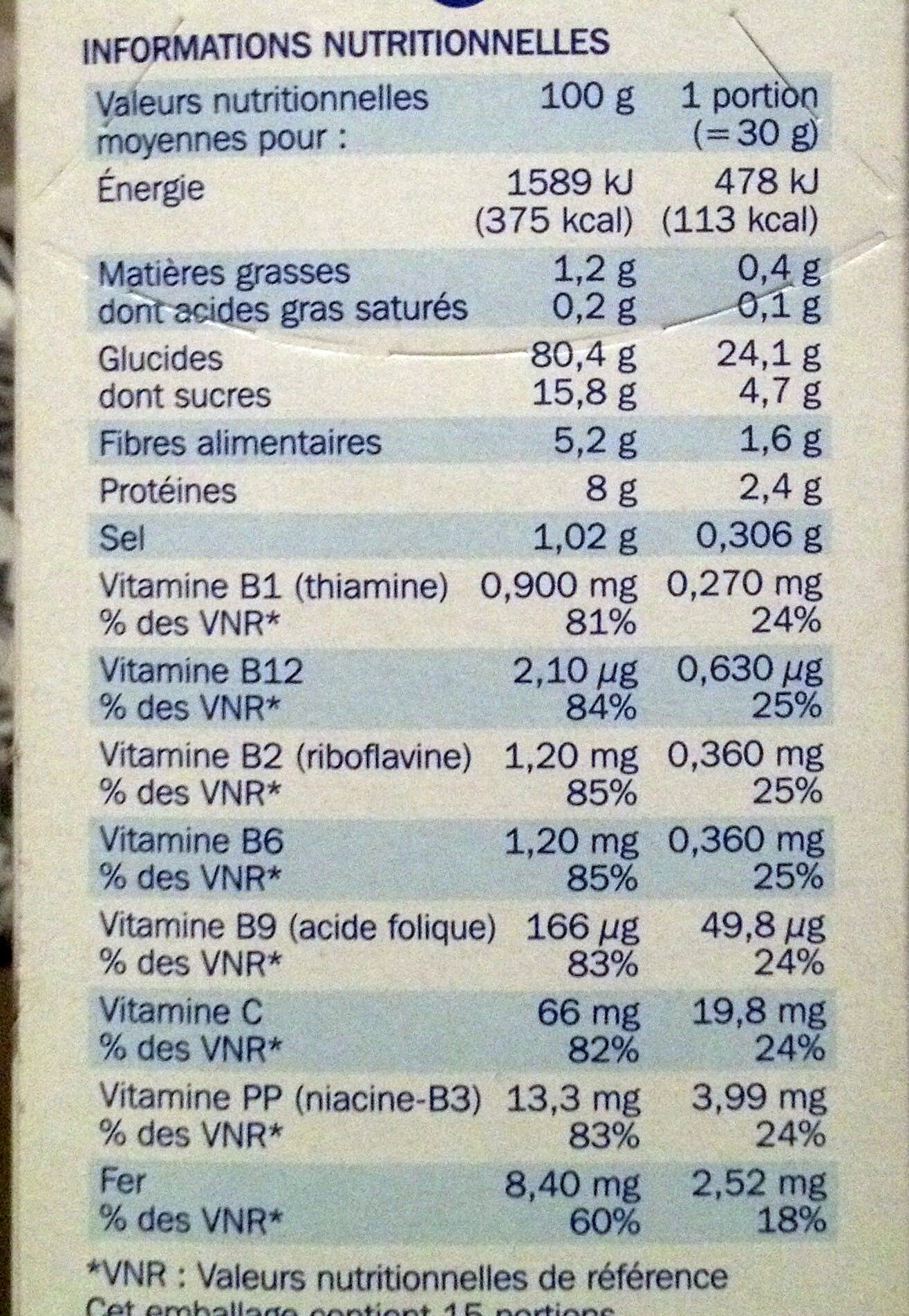 Form' flakes Nature - Nutrition facts - fr