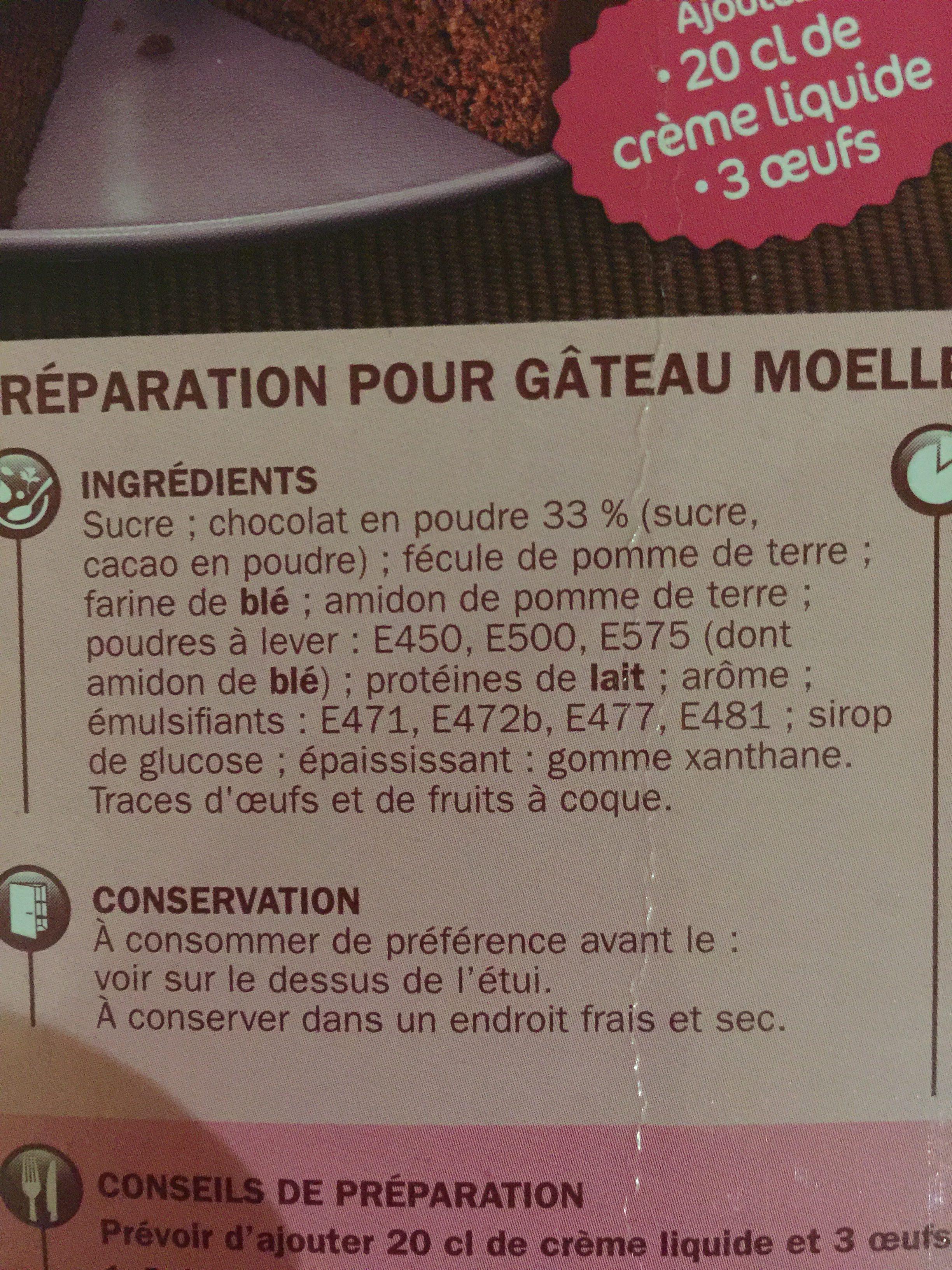 Préparation moelleux chocolat - Ingrédients