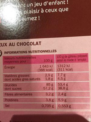 Préparation moelleux chocolat - Informations nutritionnelles