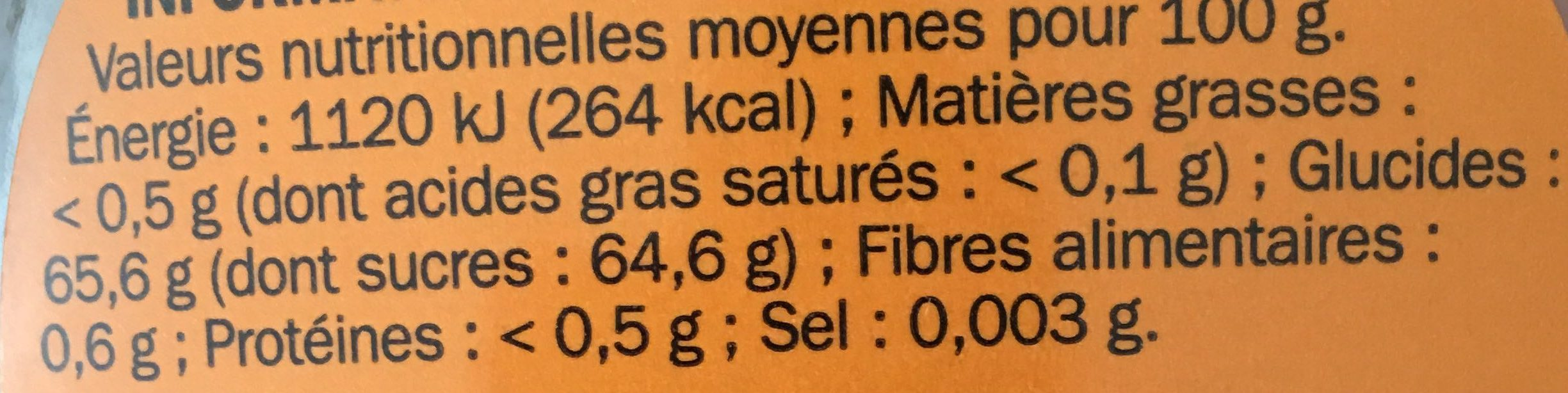 Pur sirop d'Erable - Nutrition facts