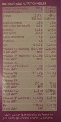 Céréales mini cookies - Nutrition facts