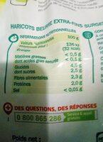 Haricots beurre Extra fins - Información nutricional - fr