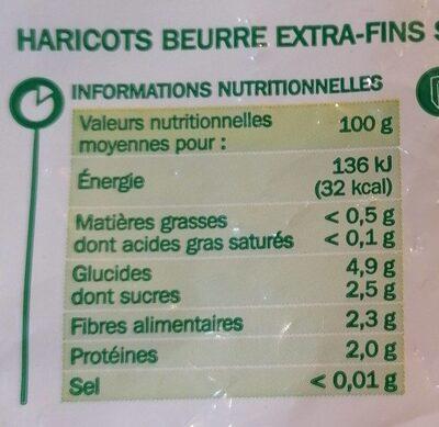 Haricots beurre Extra fins - Valori nutrizionali - fr