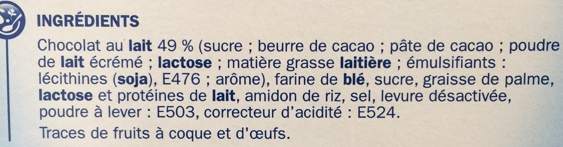 Bâtonnets torsadés chocolat au lait - Ingrédients - fr