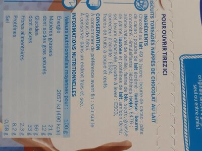 Bâtonnets torsadés chocolat au lait - Informations nutritionnelles - fr