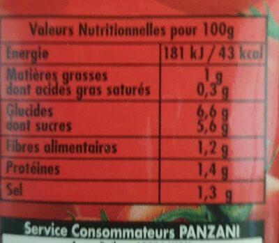 Sauce origan - Voedingswaarden - fr