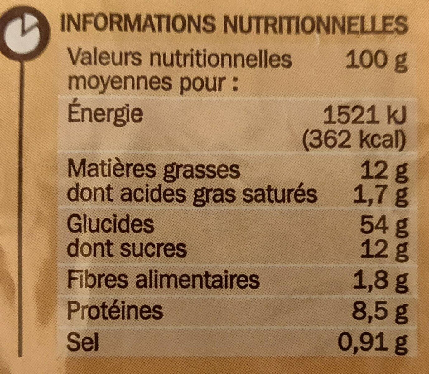 Brioche tressée aux perles de sucre - Informations nutritionnelles - fr