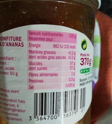 Confiture extra Ananas - حقائق غذائية - fr