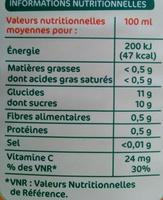 Pur jus d'orange pulpe - Voedingswaarden - fr