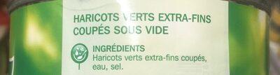 Haricots verts extra fins vapeur - Ingrédients