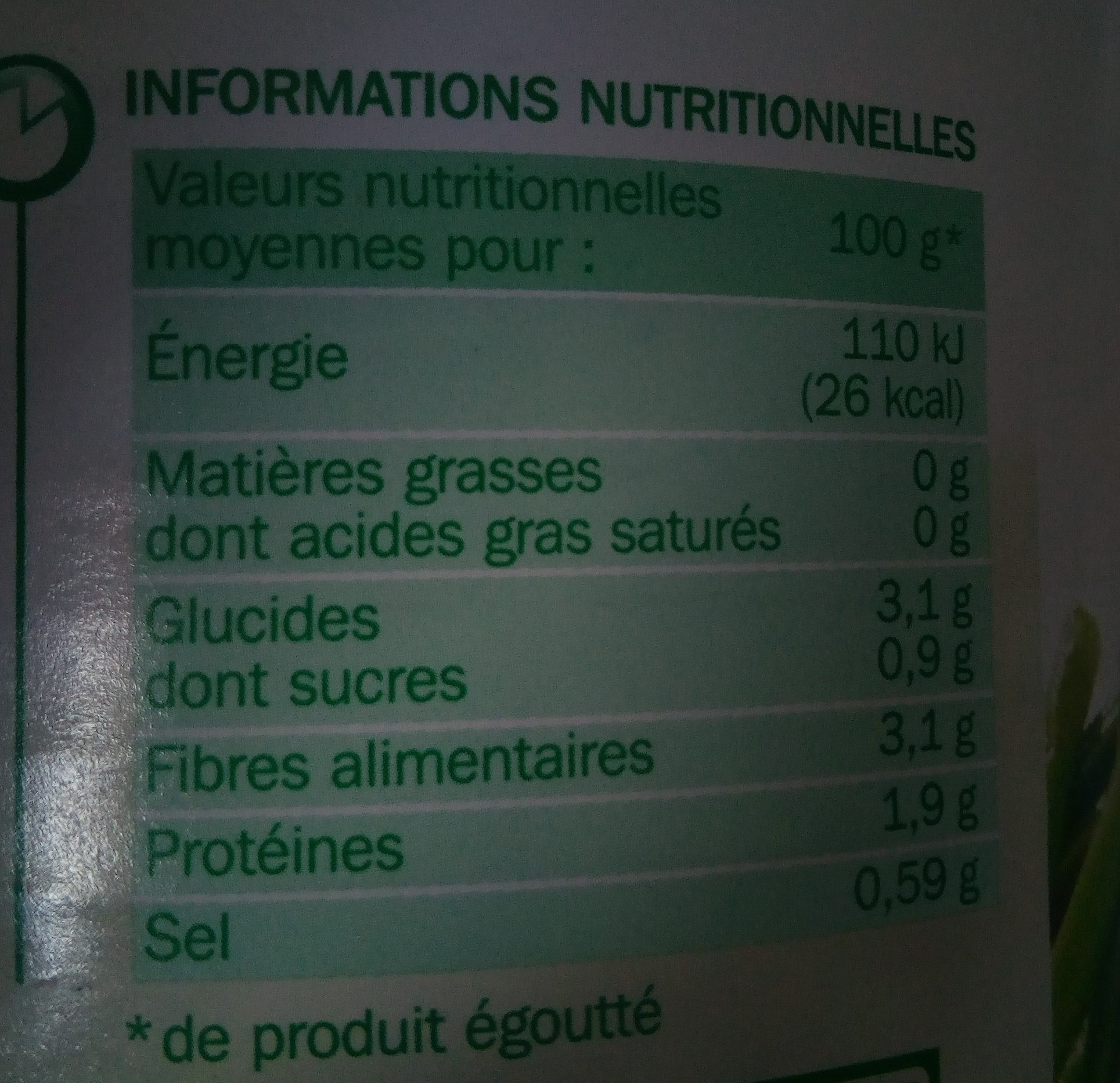 Haricots verts extra fins vapeur - Informations nutritionnelles - fr