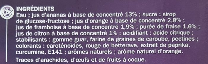 Bâtonnets Magic goût multifruits x 8 - Ingrediënten - fr