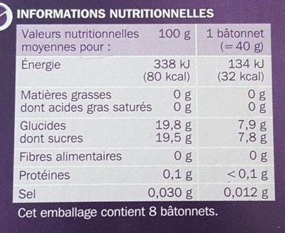 Bâtonnets Magic goût multifruits x 8 - Voedingswaarden - fr
