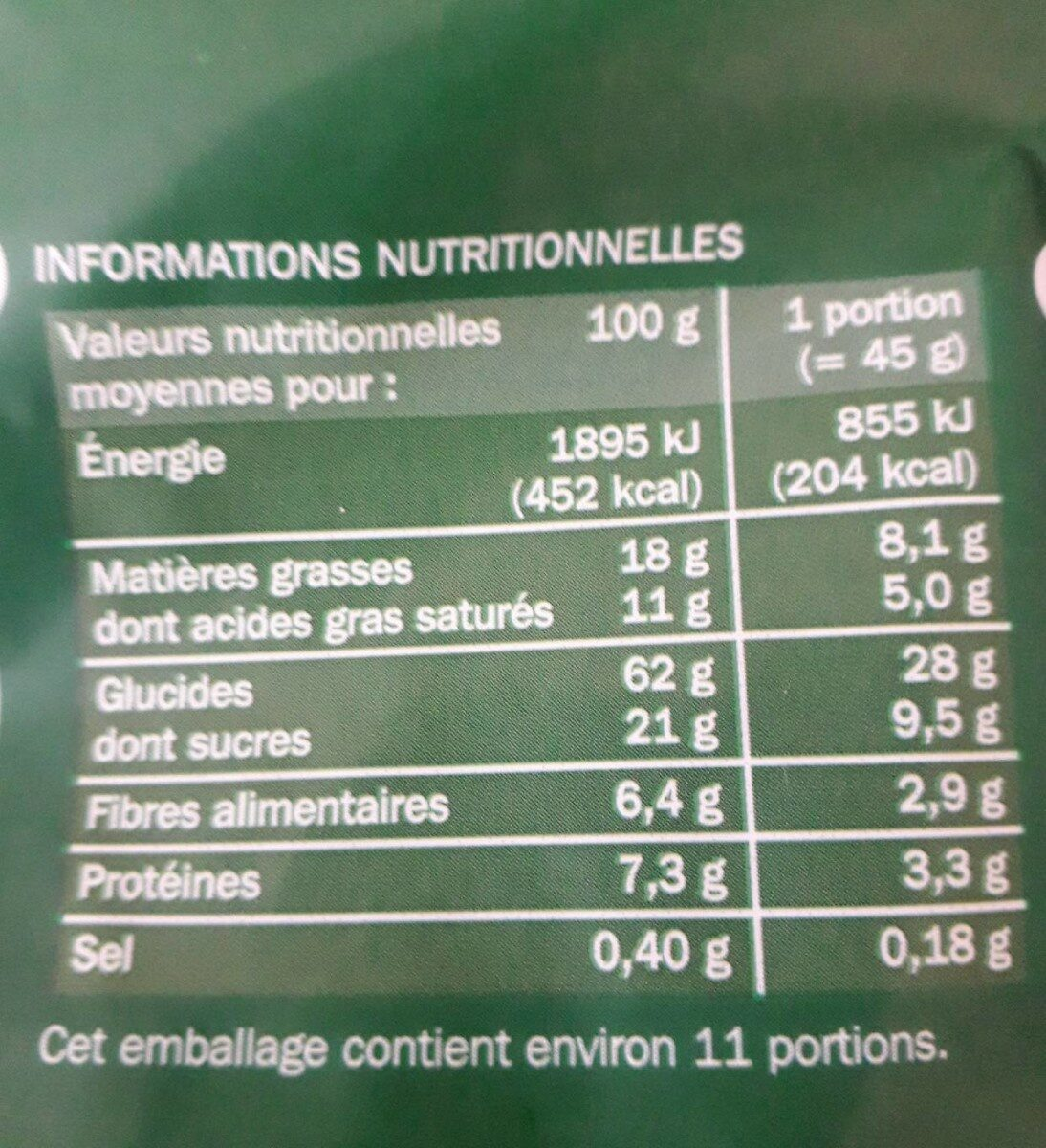 Muesli croustillant aux fruits - Informations nutritionnelles - fr