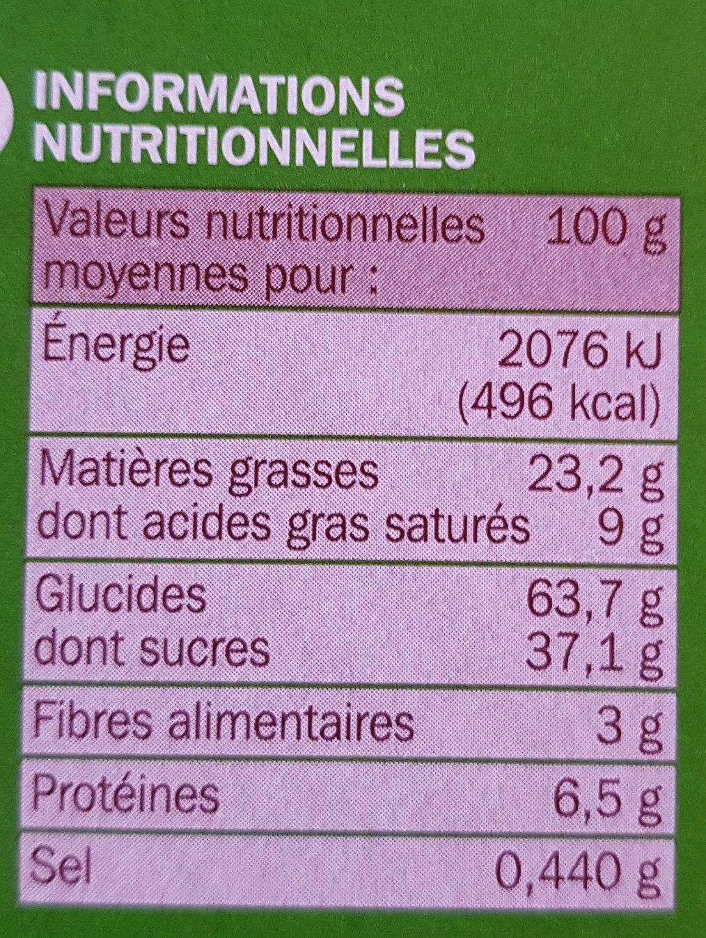 Goûters fourrés noisette x 12 - حقائق غذائية - fr