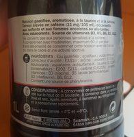 Boisson gazeuse énergisante zéro - Ingrédients