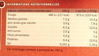 Endives au jambon surgelées x 4 - Informations nutritionnelles
