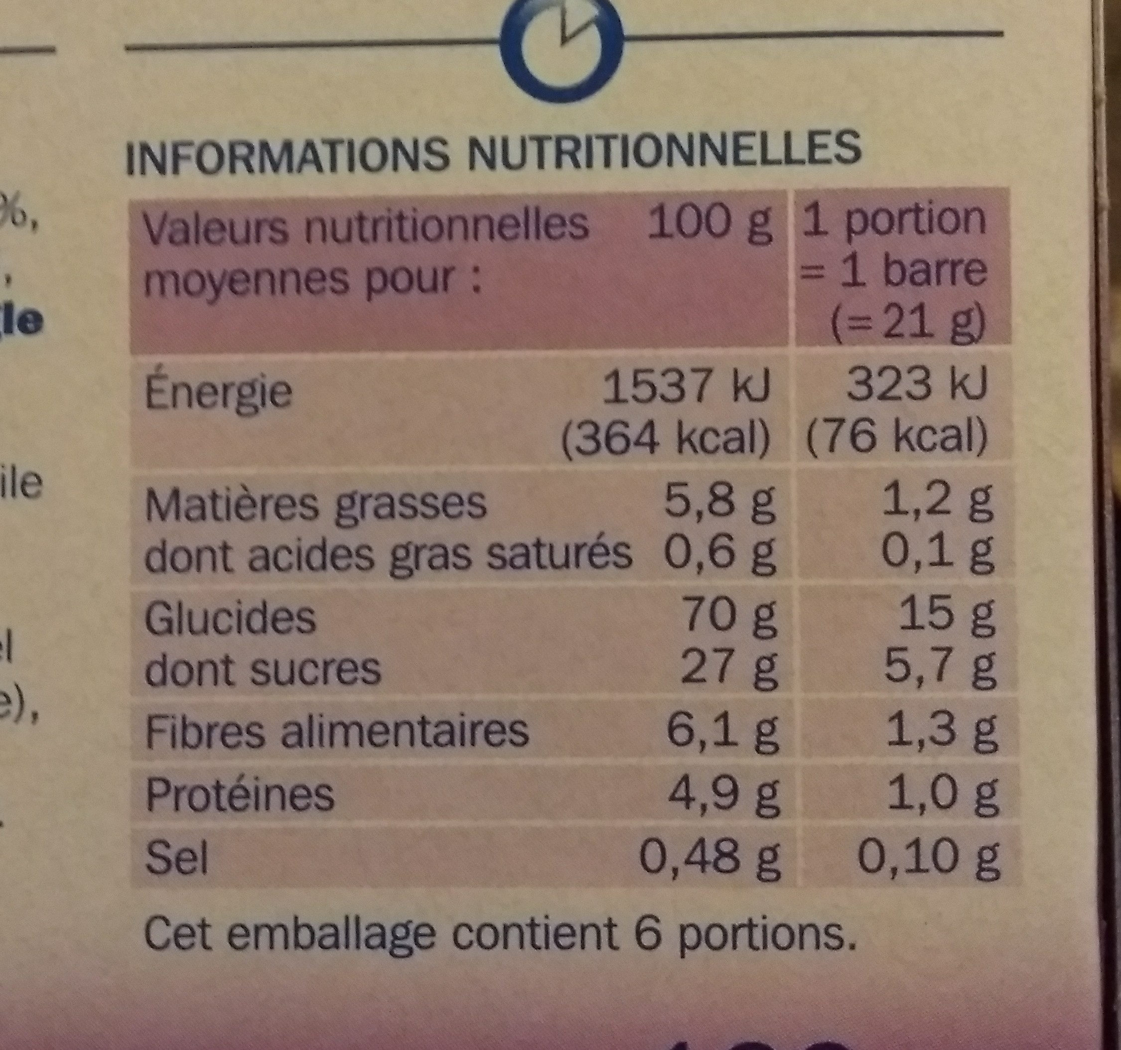 Barres céréales figue x 6 - Voedingswaarden - fr
