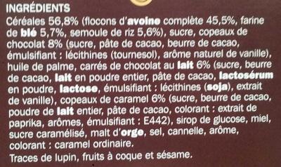 Muesli croustillant aux 2 chocolats et caramel - Ingrédients - fr