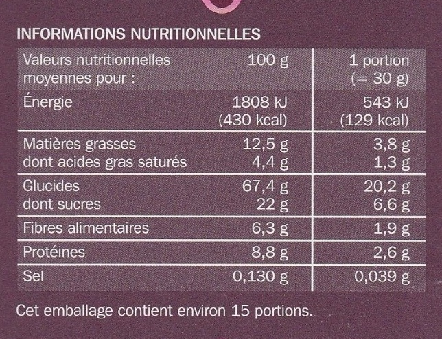 Muesli croustillant aux figues et cramberries - Informations nutritionnelles - fr