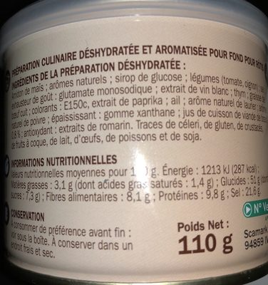 Fond Pour Rôtis - Ingrediënten