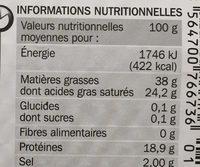 Havarti 38% Mat. Gr. en tranches x 8 - Voedingswaarden - fr