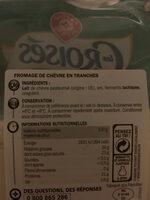 Tranchettes de chèvre 32,4% mg - Ingrediënten - fr