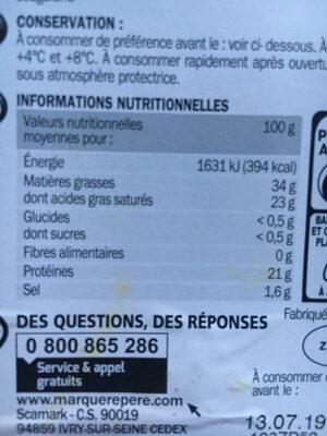 Tranchettes de chèvre 32,4% mg - Voedingswaarden - fr