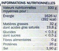 Cheddar 32% Mat. Gr. 8 tranchettes - Voedingswaarden - fr