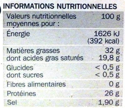 Cheddar 32% Mat. Gr. 8 tranchettes - Voedingswaarden