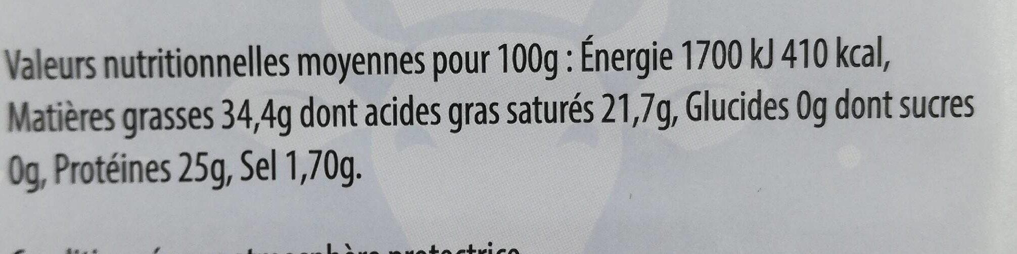 Cheddar 32% Mat. Gr. 8 tranchettes - Nutrition facts - fr