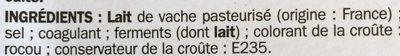 Raclette nat tranches xxl 26% - Ingrediënten