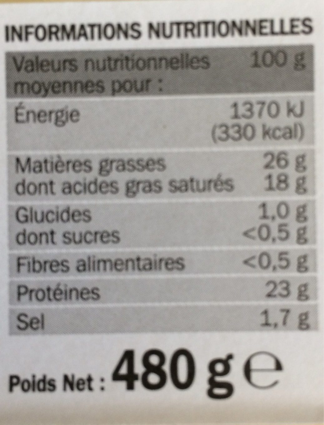 Raclette nat tranches xxl 26% - Voedingswaarden