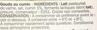 Gouda au cumin 31% Mat. Gr. - Ingrediënten - fr