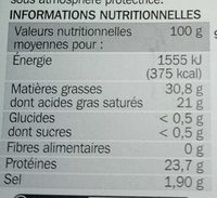 Gouda au cumin 31% Mat. Gr. - Voedingswaarden - fr