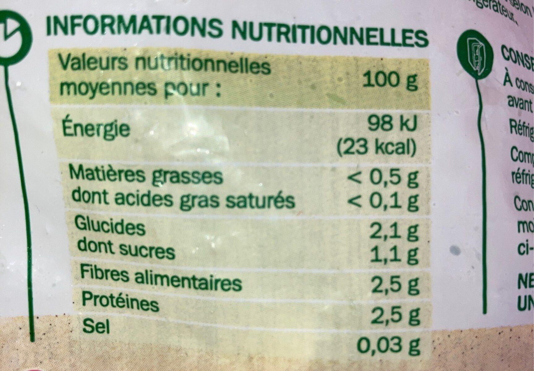 Brocolis cuits - Informations nutritionnelles - fr