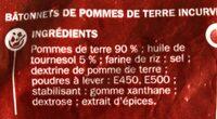 Frites incurvées au four - Ingredients - fr