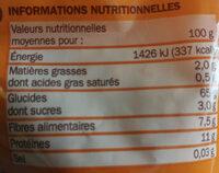 Coquillettes au blé complet - Información nutricional