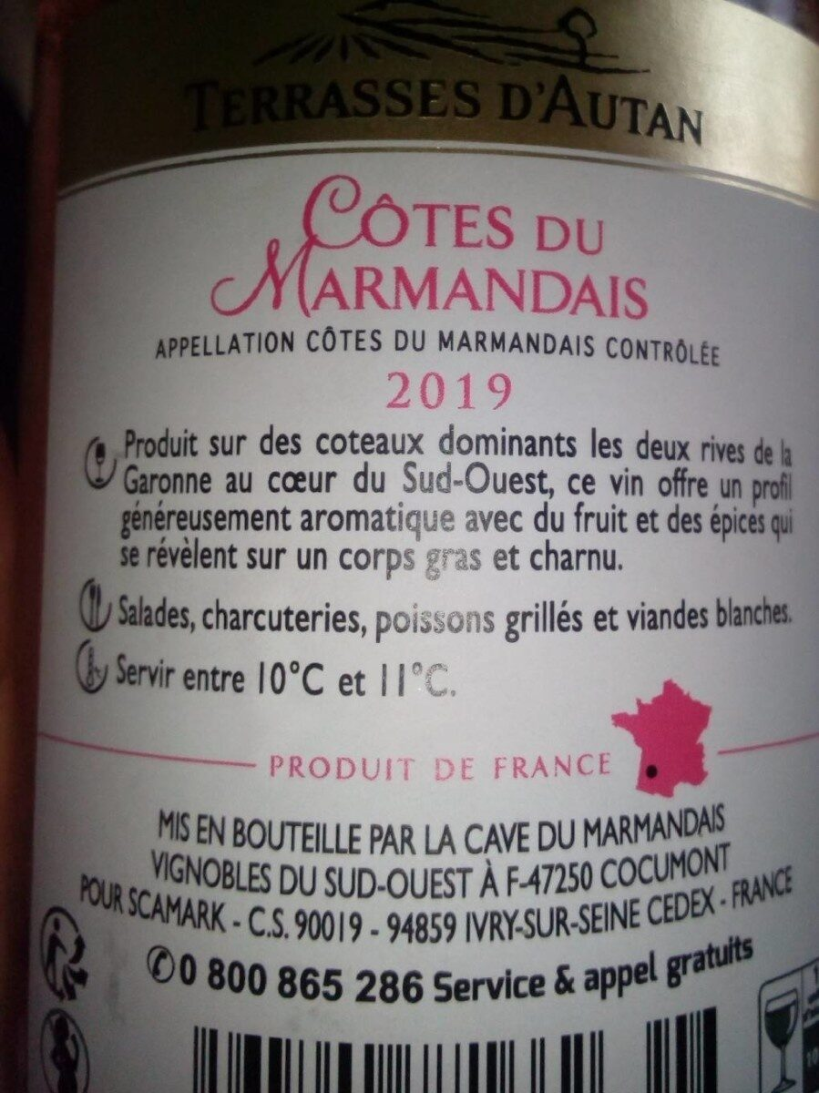Côtes du Marmandais rosé A.O.C. 2017 - Nutrition facts - fr