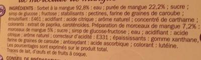 Vrac sorbet mangue - Nutrition facts