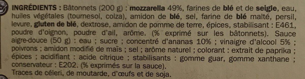 Mozzarella sticks sauce aigre-douce - Ingredienti - fr