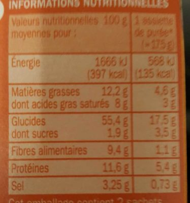 Purée emmental - Informations nutritionnelles - fr