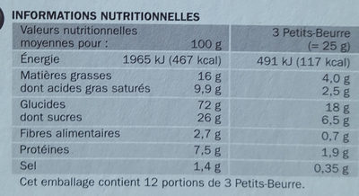 Petits beurres pépites de chocolat - format pocket - Nutrition facts - fr