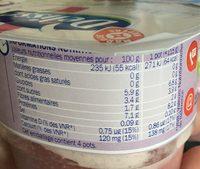 Mousse de fromage frais sur lit de fruits 0% - Nutrition facts - fr