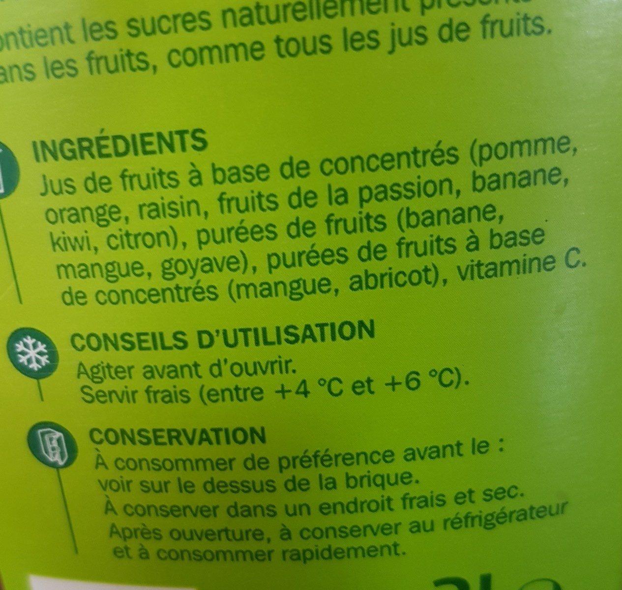 Jus multifruits partiellement à base de concentré - Ingrédients - fr