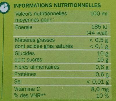Jus multifruits partiellement à base de concentré - Informations nutritionnelles - fr